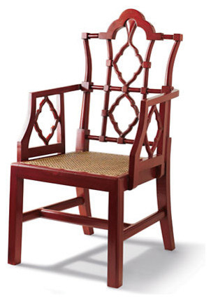 Red Openwork Chair asian-dining-chairs