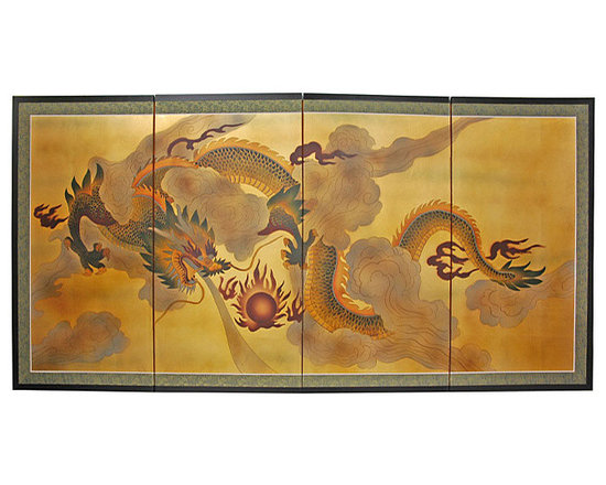 Gold Leaf 'Dragon in the Sky' Silk Screen Painting - This hand-painted gold leaf screen depicts a dragon in the sky. Hang this on the wall behind a sofa or bed for a beautiful focal point.