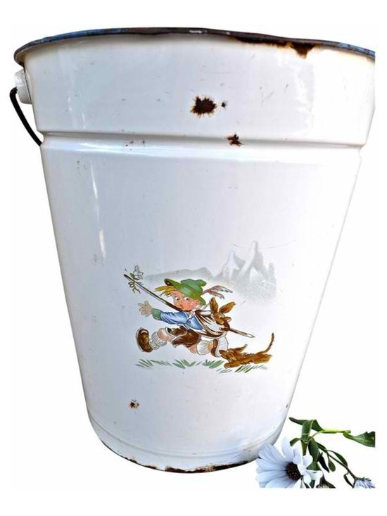 Enamel Pail - I love the scene of the boy and his dog on this European enamel pail. A one of a kind pail that is sure to have a story! It is white with a wood handle and the art work and pail are in very good condition. A couple small blemishes beacuse it is vintage.