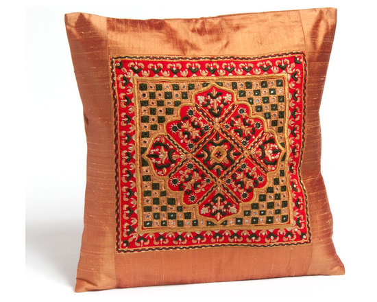 """Sitara Collections - Jaipur Pakko Hand-Embroidered Raw Silk Pillow Cushion Cover, 16"""" X 16"""" - The ancient Weaving Technique of Mashru is Shown off to Perfectiom in these 100 % Pure Silk Cushiom Covers. Natural Dyes Evoke Elements of Both Earth and Sky in the Covers, Whose Hand-Woven Beauty adds Elegance and internatiomal Flair to Couches, Beds, and More. Cushiom Covers Measure 16"""" by 16"""" and Feature a Slit Closure. Color: Light Brown with Red, Green, Beige accent Colors & Mirror Work Fabric: Raw Silk with Pakko Hand-Embroidery Design: Jaipur Embroidery: Pakko Cushiom inserts Not included Closure: Slit Care instructioms: Dry Clean omly Dimensioms: 16 inches X 16 inches Set includes ome (1) Cushiom Cover Handmade in Kutch, Gujarat india."""