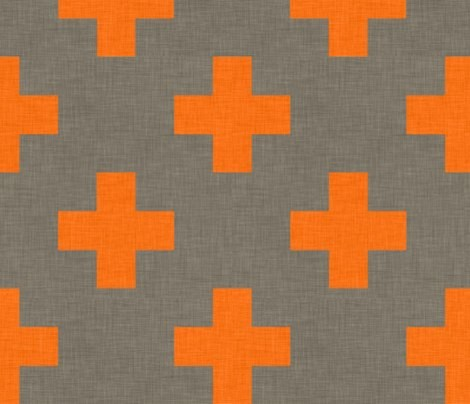 Plus One Linen Orange Wall Decal - modern - decals - by Spoonflower