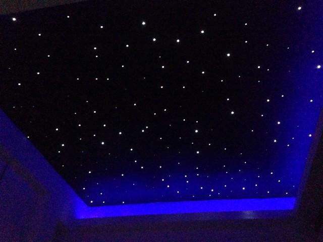 fibre optic starlight ceiling in small movie room modern. Black Bedroom Furniture Sets. Home Design Ideas