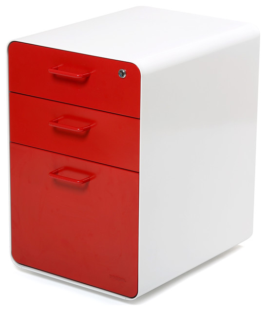 West 18th File Cabinet, White/Red - Modern - Filing Cabinets