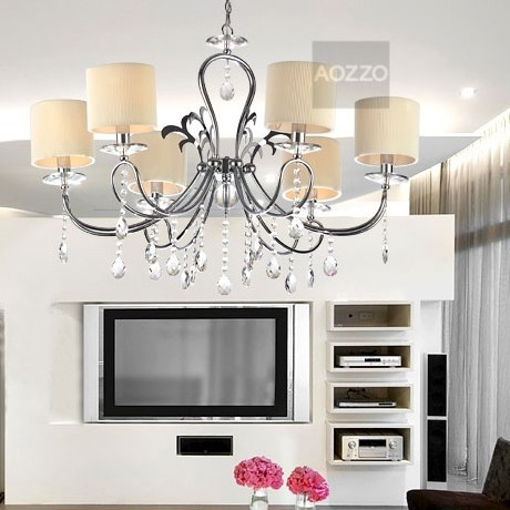 JollyHome Beige Fabric Shade Pendant Light Fixtures with 6 Lights modern-pendant-lighting