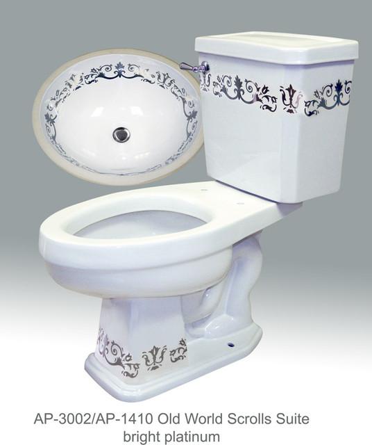 Gold & Platinum Scrolls traditional-bathroom-sinks
