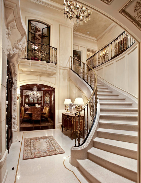 Entrance Foyer Circulation And Balcony In A House : French limestone architectural stone traditional