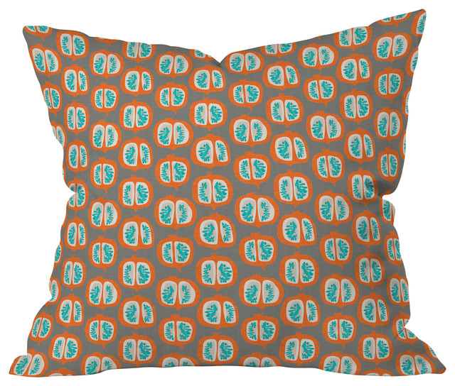 Mummysam Orange Pomegranate Throw Pillow, 20x20x6 contemporary-decorative-pillows