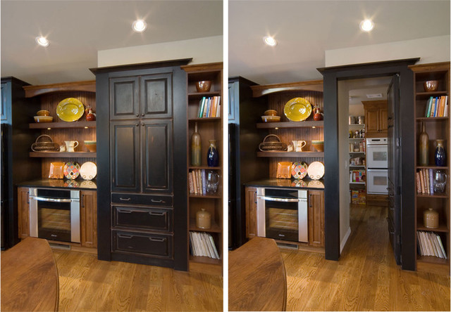 Hidden Butler 39 S Pantry Kitchen Design With Rustic Touches Rustic Kitchen