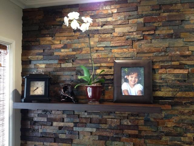 Interior Ledger Stone Wall Application Rustic Los