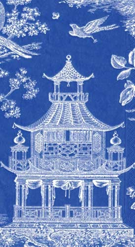 Blue Chinoiserie Toile Pagoda Paper Guest Towels asian-napkins