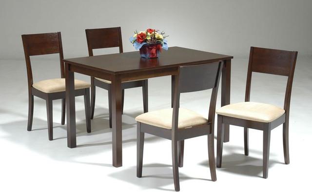 Elegant Wood And Microfiber Seats Dining Room Furniture