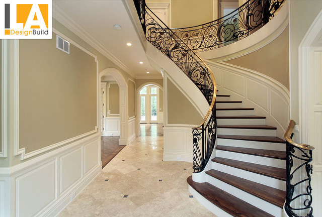 Living room mediterranean staircase los angeles by for Living room designs with stairs
