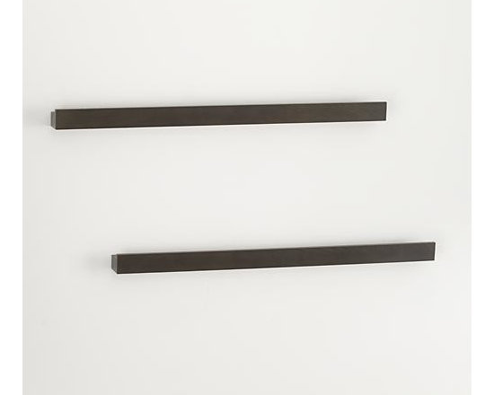 """Set of 2 Archetype 36"""" Brown Photo Ledges - Dark brown photo ledges with a built-in rails make it easy to display photos or artwork. Lightweight and sturdy shelves get their hidden strength from a hollow-core construction, supporting up to 36 pounds each. Combine with Archetype's other sizes for a functional, dimensional wall display."""