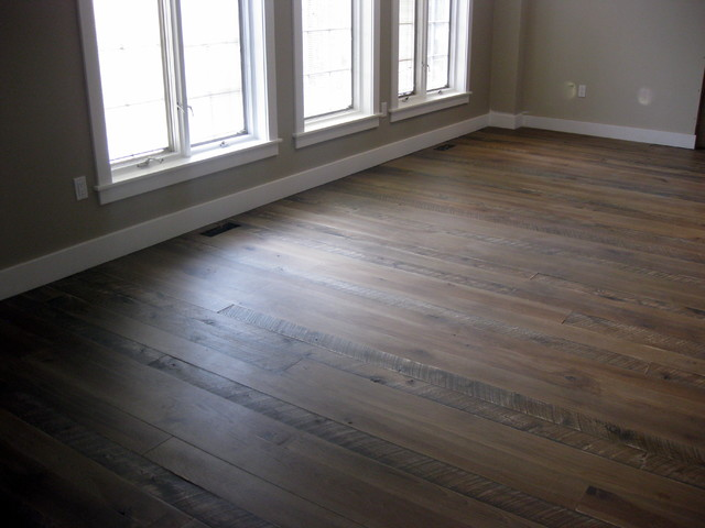 Textured top plank flooring with jacobean/grey stain ...