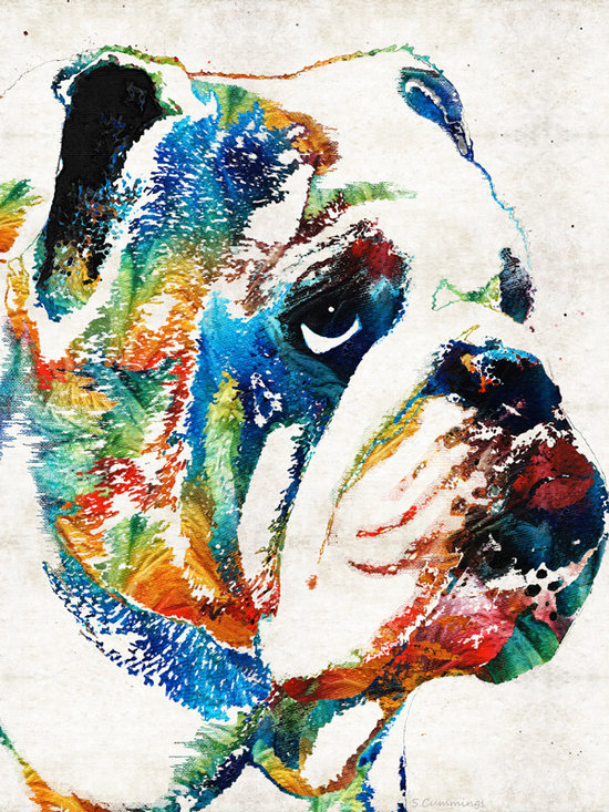 Animals, Fish and Birds - Bulldog Pop Art - How Bout A Kiss - By Sharon Cummings