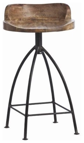 Arteriors Henson Wood Iron Swivel Stool traditional bar stools and counter stools