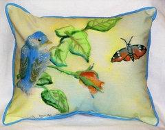 Garden Blue Bird Indoor / Outdoor Pillow modern-outdoor-pillows