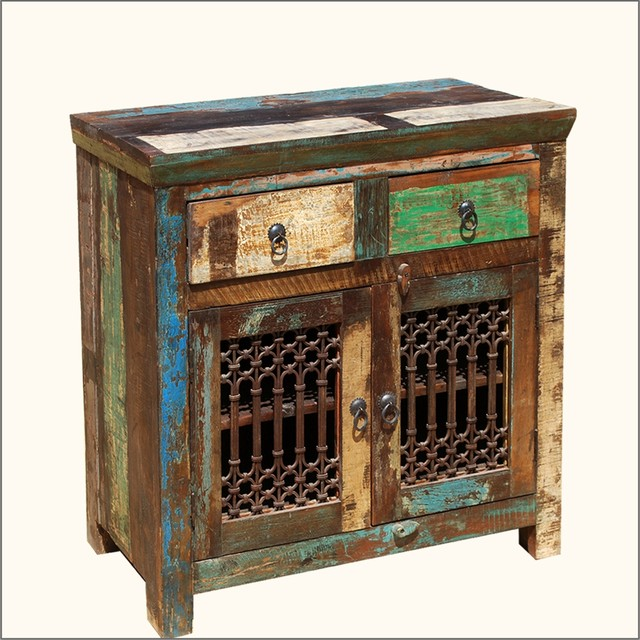Rustic Reclaimed Wood Iron Distressed Sideboard Storage Buffet Cabinet - Traditional - Buffets ...