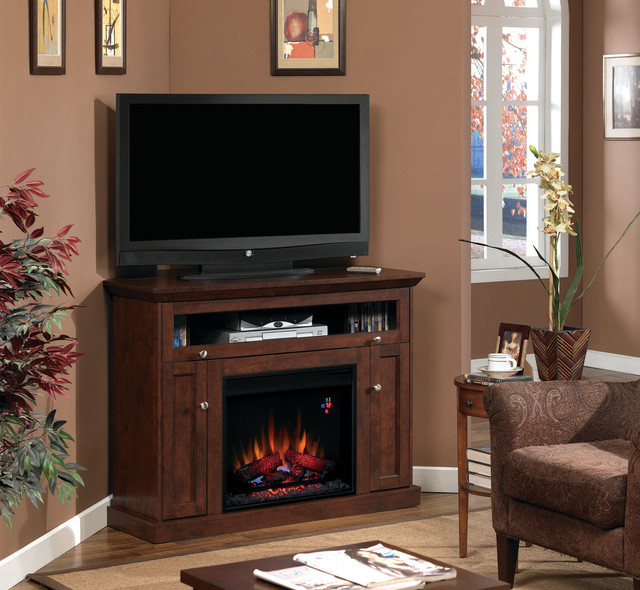 Windsor Wall or Corner Electric Fireplace Media Cabinet in Antique Cherry - Traditional - Indoor ...
