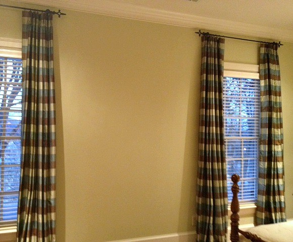 Blue Green Brown Silk Plaid Curtain Panels Traditional Other Metro By Nashville