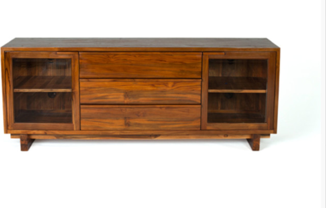 Hitchcock Media Cabinet - Natural Honey Color Finish - Solid Reclaimed Teak Wood - Contemporary ...