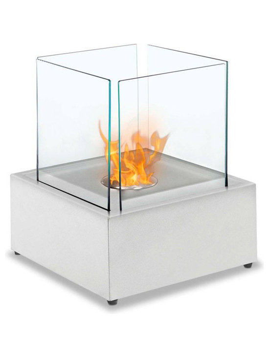 Moda Flame - Sevilla Tabletop Ethanol Fireplace, White - The Sevilla ethanol contemporary table top personal fireplace creates an extraordinary ambiance in any setting with its steel square shape and set of four tempered glass panes. Ideal for all table, bar, or counter tops, patio and outdoors.