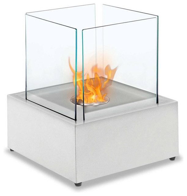 Sevilla Table Top Ethanol Fireplace - White modern-fireplaces