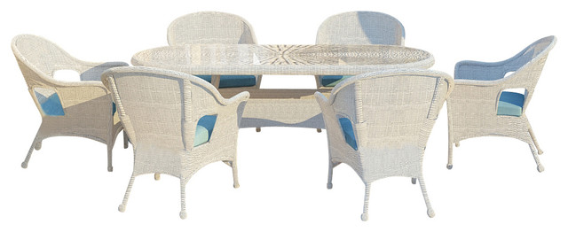 Rockport 7 Piece Round Wicker Patio Dining Set, Air Blue Cushions traditional-patio-furniture-and-outdoor-furniture