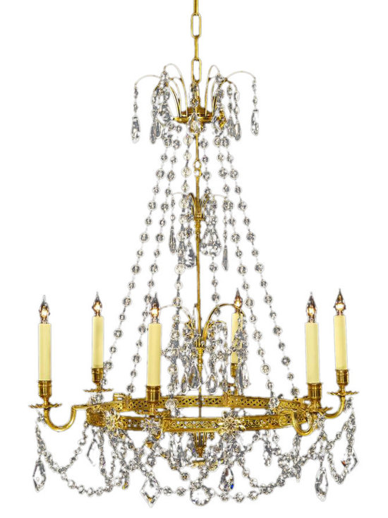 MARVIN ALEXANDER BALTIC STYLE GILDED CHANDELIER - This Baltic Style Gilded Chandelier by Marvin Alexander caught our eye in a Manhattan House model apartment curated by Jamie Drake. In excellent condition, it's the perfect chandelier for your foyer with its bronze-finished frame dripping in crystal beads portraying classic elegance.