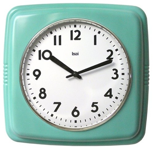 Cubist Retro Modern Wall Clock, Turquoise - Modern ...