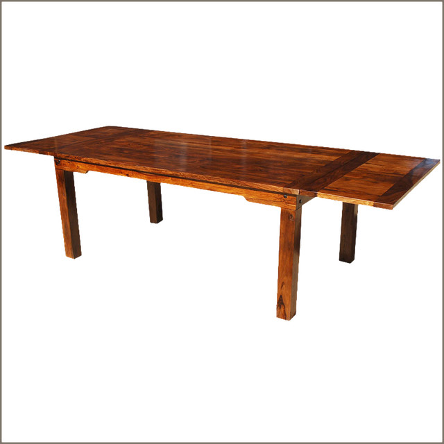 "Long Dining Table: 122"" Long Solid Wood Transitional Rustic Dining Table W"