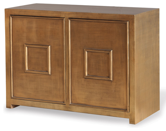 Park Avenue Hollywood Regency Style Gold Leaf Cabinet - Transitional - Storage Cabinets - by ...