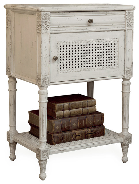 Giverny antique white caned nightstand transitional for French nightstand bedside table