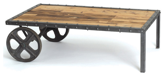 Reclaimed Wood Vintage Industrial Transfer Cart Coffee Table traditional-side-tables-and-end-tables