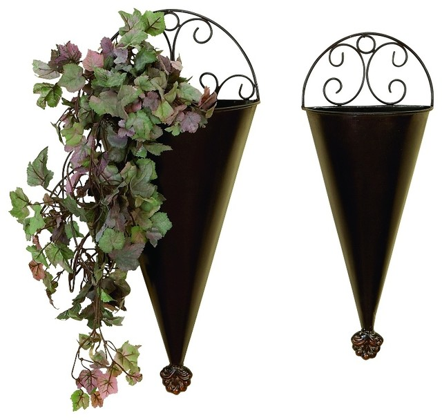 elegant set of 2 brown metal wall planters scroll work. Black Bedroom Furniture Sets. Home Design Ideas