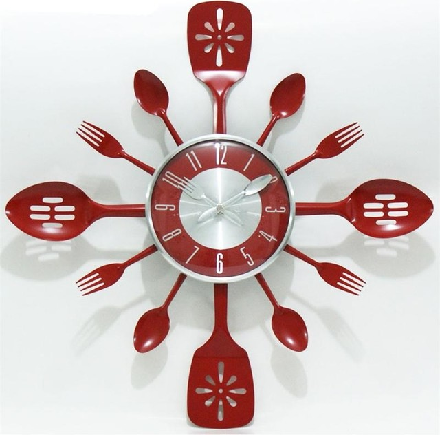 Kitchen Utensil Red Stainless Steel Wall Clock