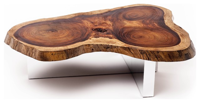Tamburil Slab Coffee Table - Cross Base contemporary coffee tables