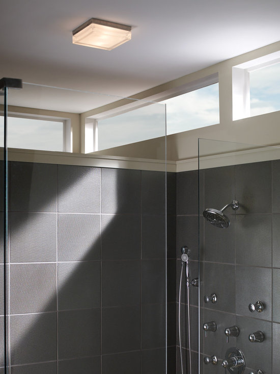 Boxie Flush Mount Light - Contemporary flush mount light perfect for bathrooms or hallways. Available in three finishes