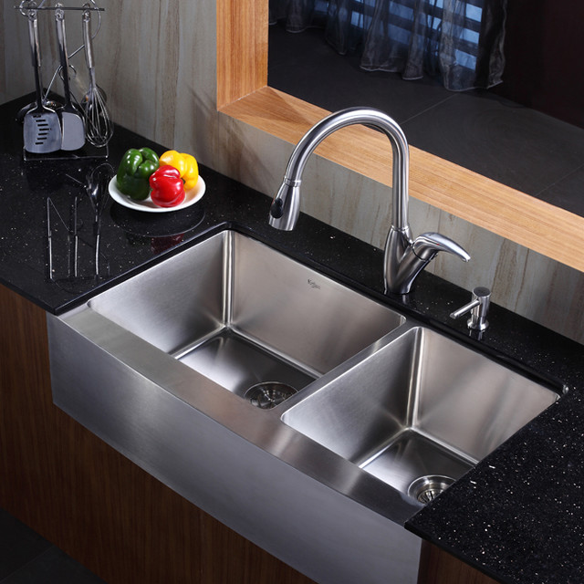 ... 36 inch Farmhouse Stainless Steel Sink And Faucet modern-kitchen-sinks