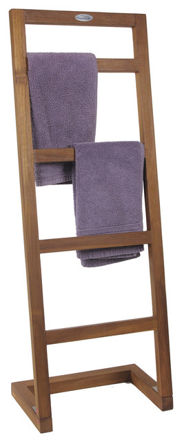 Spa Collection Angled Teak Towel Stand - Contemporary - Towel Racks & Stands - by Aqua Teak