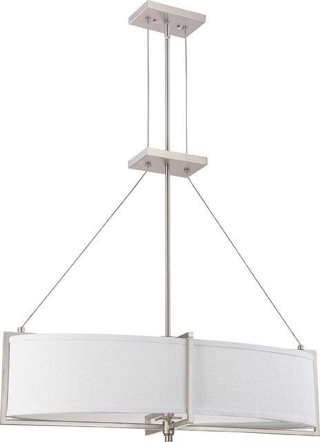 Brushed Nickel Energy Star Oval Chandelier/Pendant With Gray Fabric Shade contemporary-chandeliers