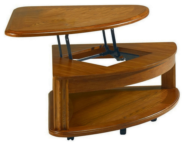 Hammary T90203 00 Fremont Half Pie Shaped Lift Top Cocktail Table Traditional Coffee Tables