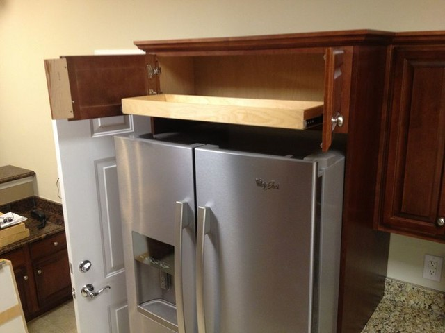 Roll out shelf above fridge kitchen drawer dividers other metro by shelfgenie national - Above kitchen cabinet storage ...