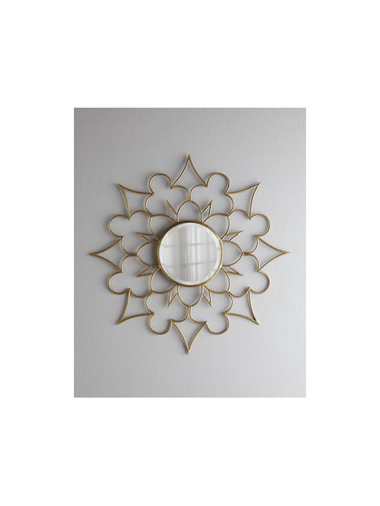 Horchow - Starburst Clover Mirror - We love the interplay of shapes—spear point, trefoil, diamond, and scallop—on the frame of this classic round mirror. Combined, they give it an airy look while still adding substantiality. Made of iron and metal. Beveled mirror. D-ring for....