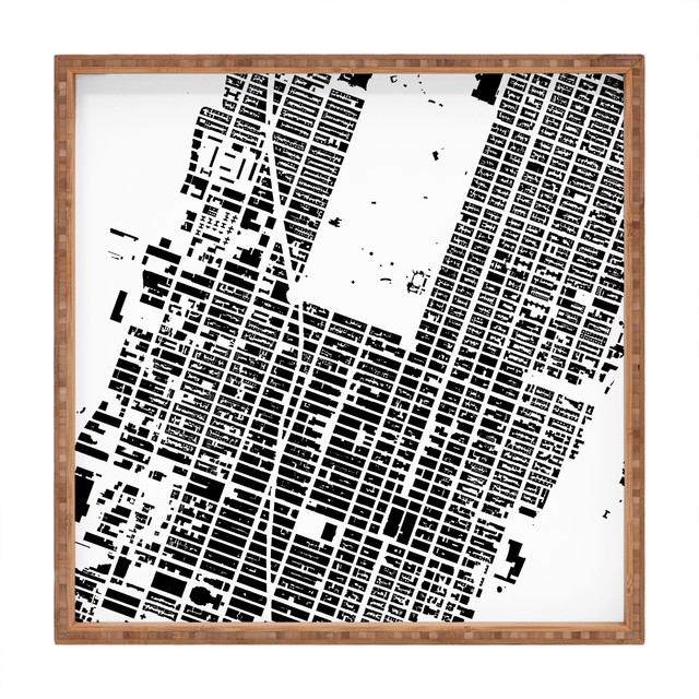 Cityfabric Inc Nyc Midtown White Square Tray, Small contemporary-platters
