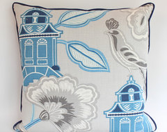 Blue and Grey Pagoda Pillow with Piping asian pillows