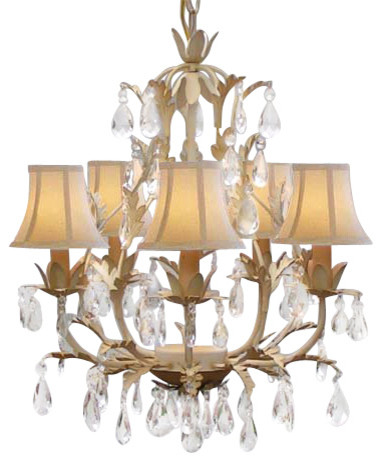 Wrought Iron Tolle Crystal Chandelier Lighting Five Light With Shades Two Traditional Chandeliers