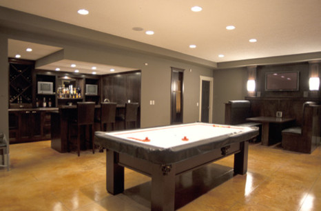 Recreational Room contemporary basement