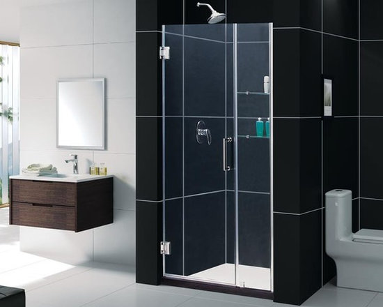 """DreamLine Unidoor Shower Door 41-42"""" SHDR-20417210 - DreamLine™ UNIDOOR is the only door you will ever need to complete an unforgettable design of your shower project. The UNIDOOR shower door collection has an opening door range from 23"""" up to 61"""", and can be reversed for either left-wall or right-wall installation. The 3/8"""" heavy glass and the frameless design supported by solid brass self-closing hinges delivers the look of an expensive custom glass door at a fraction of the high custom price"""