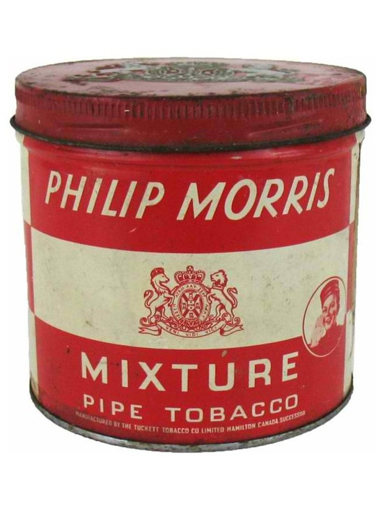 """Philip Morris Tobacco Tin - This old tin is from the Tuckett Tobacco Co., Canada and features the """"Call for Philip Morris"""" bellhop played by actor, Johnny Roventini, circa 1940. Tin does have signs of wear and use due to its age. Inside is nice and clean. Tax stamp is seen on the side and original price on bottom."""